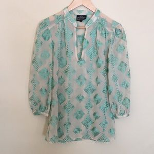 Turquoise and sheer embroidered blouse